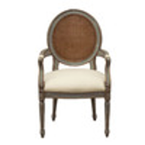 Custom Decorator - Hand Carved Hardwood Round Cane Back 41.3 Inch Accent Arm Chair - Upholstered Seat