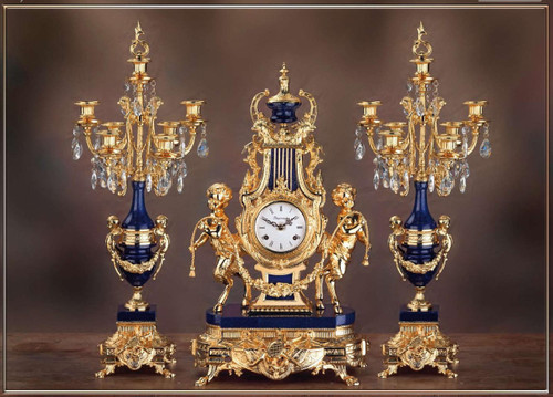 Antique Style French Louis Crystal and Lapis Lazuli, d'Oro Ormolu Garniture - Mantel Clock, Seven Light Candelabra Set - 24k Gold Patina - Guirlande de Butin, Handmade Reproduction of a 17th, 18th Century Dore Bronze Antique, 454