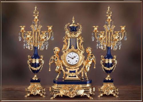 Antique Style French Louis Crystal and Lapis Lazuli, d'Oro Ormolu Garniture - Mantel Clock, Seven Light Candelabra Set - 24k Gold Patina - Guirlande de Butin, Handmade Reproduction of a 17th, 18th Century Dore Bronze Antique, 454
