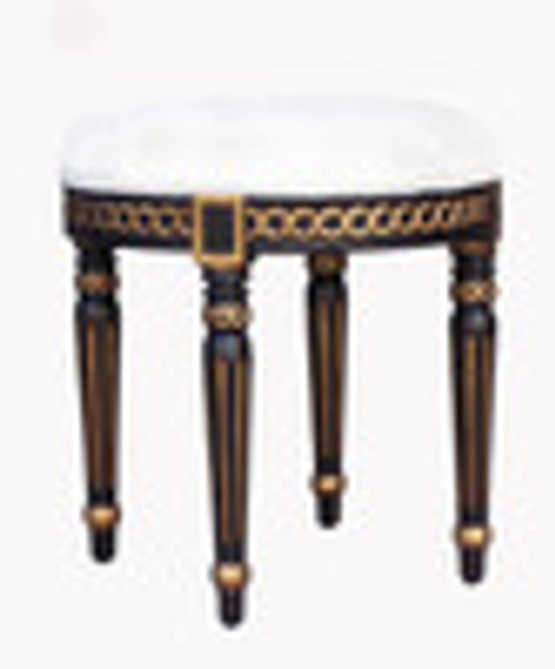 Custom Decorator - Late 18th Century Style Neo Classical - 19.7 Inch Round Foot Stool - Upholstered Seat