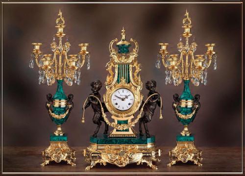 "Antique Style French Louis Crystal and Green Malachite Garniture, Brass Ormolu Guirlande de Butin Mantel Clock, 26.37"", Seven Light Candelabra Set, 24 Karat Gilt Patina, Handmade Reproduction of a 17th, 18th Century Dore Bronze Antique, 6762"