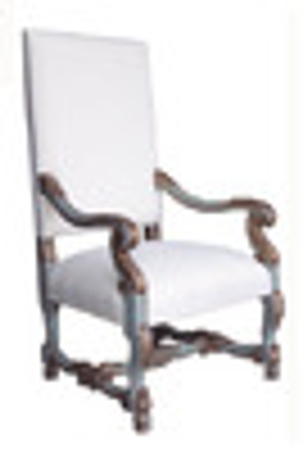 Custom Decorator - Hand Carved Hardwood Louis XIV 46.9 Inch Fauteuil   Arm Chair - Upholstered Back and Seat
