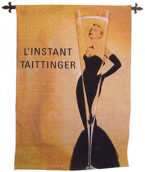 L'Instant Taittinger - Exceptional Hand Woven Cotton Tapestry - Made in USA