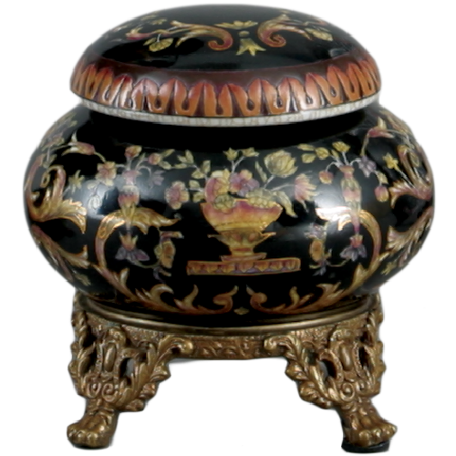 A Floral Drama Pattern, Luxury Hand Painted Chinese Porcelain and Gilt Brass Ormolu, 4 Inch Round Decorative Box