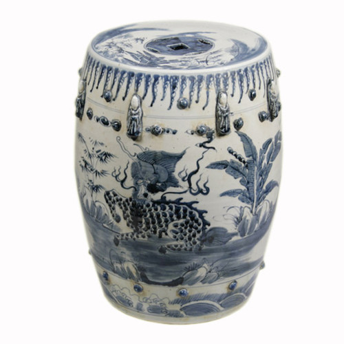 Finely Finished Ceramic Garden Stool, 17 Inch, Classic Blue and White Design