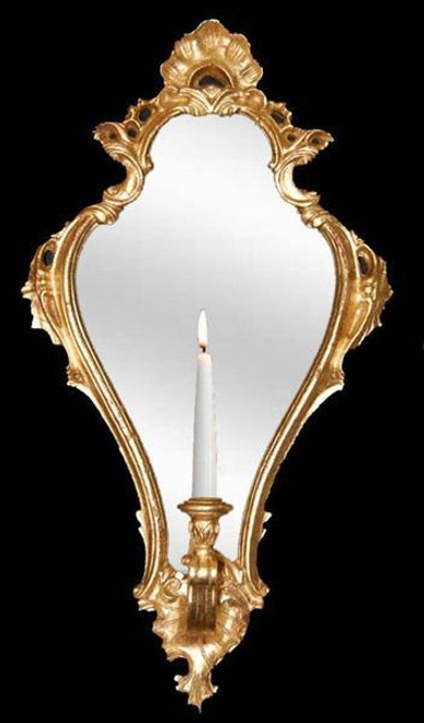 "Classic Elements Reproduction Taper Candle Mirrored 29"" Wall Sconce, Gold Baroque Finish, Also available as a Mirror"