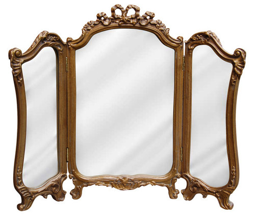 """Classic Elements 31.5"""" X 26.75"""" Three Panel Reproduction Vanity Mirror, Gold Antique Finish"""