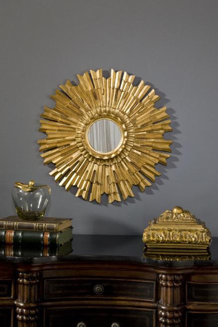 """Classic Elements 22"""" Round Sunburst Shape Beveled Glass Reproduction Mirror, Custom Finish"""