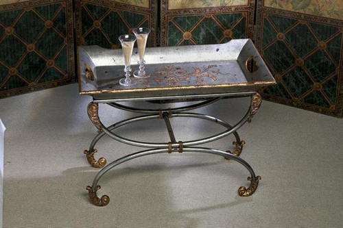 Iron 28 Inch Serving Tray & Stand, Pewter Finish with Gold Accents