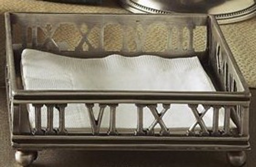 Brass Roman Numeral Beverage Napkin Tray, Antique Silver Finish, Set of Two