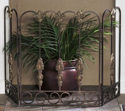 Bronze Finished Wrought Iron Scroll - Brass Fleur de Lis & Medallion Fireplace Screen