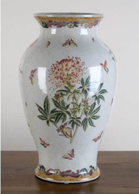 A Spider Flower Pattern, Luxury Hand Painted Chinese Porcelain, 14 Inch Vase
