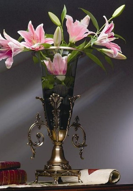 "Antiqued Brass & Glass 19.5"" Tabletop Vase"