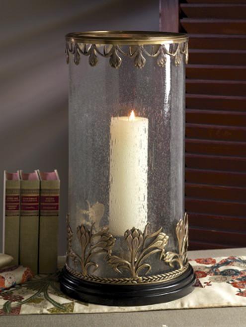 Brass, Hurricane Lamp with Rain Glass Cylinder, Antique Brass Finish