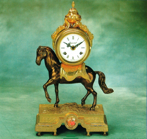 Ornamental d'Oro Ormolu - Desk, Mantel, Table Clock - Choose Your Finish - Trotting Steed Theme - Handmade Reproduction of a 17th, 18th Century Dore Bronze Antique, 6727