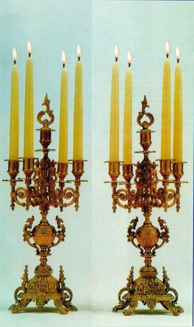 Brass Ormolu 19.68 Inch Five light Candelabra Set, French Gold Gilt Patina - Handmade Reproduction of a 17th, 18th Century Dore Bronze Antique, 6725