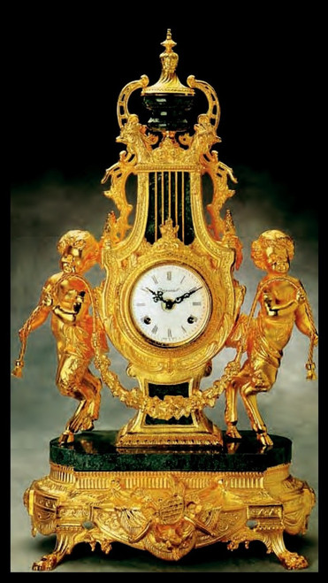 Imperial Antique 24K Gold Gilt Finish shown on Brass and Marble Clock #9