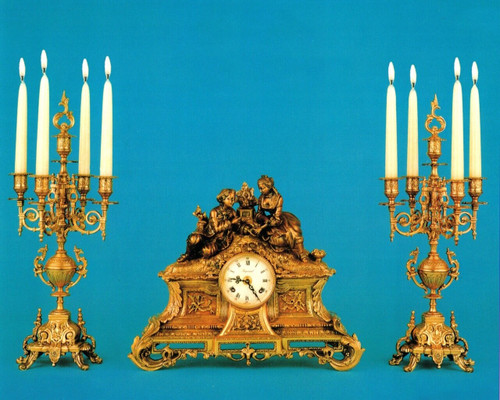 Antique French Style Garniture, Brass Ormolu, Victor Hugo's Summer Courtship, French Mantel, Table Clock & 5 Light Candelabra Set, Polychrome and French Gold Gilt Patina, Handmade Reproduction of a 17th, 18th Century Dore Bronze Antique, 6723