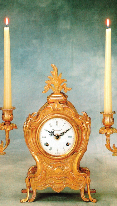Ornamental d'Oro Ormolu - Desk, Shelf, Shallow Body Mantel Clock - Choose Your Finish - Handmade Reproduction of a 17th, 18th Century Dore Bronze Antique, 6722