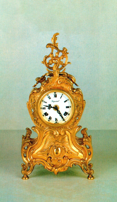 Ornamental d'Oro Ormolu - Desk, Shelf, Mantel Cortouche Clock - Choose Your Finish - Louis Quinze - Handmade Reproduction of a 17th, 18th Century Dore Bronze Antique, 6720