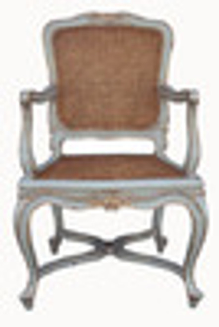 Custom Decorator - Hand Carved Hardwood French Regence Philippe d' Orleans 42.3 Inch Accent Arm Chair - Cane Back and Seat