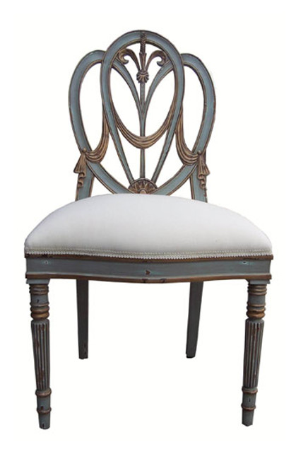 Custom Decorator - Hardwood Hand Carved Reproduction Hepplewhite - Prince of Wales Style - 41.3 Inch Dining Side Chair - Upholstered Seat
