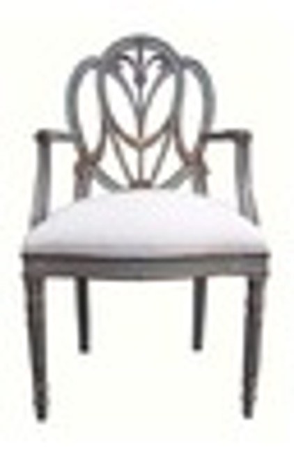 Custom Decorator - Hardwood Hand Carved Reproduction Hepplewhite - Prince of Wales Style - 41.3 Inch Dining Arm Chair - Upholstered Seat