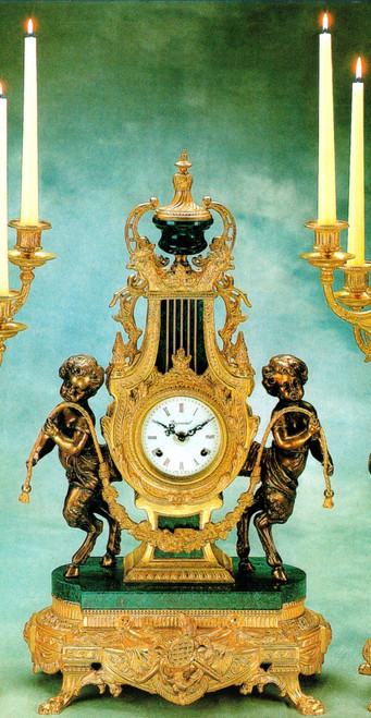 Verde Delle Alpi, Green Italian Marble & Brass, 24.40 Inch Ormolu Mantel Clock, French Gold Gilt Patina - Handmade Reproduction of a 17th, 18th Century Dore Bronze Antique, 6718