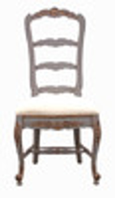 Custom Decorator - Hardwood Hand Carved Reproduction - Rococo Style Ladder Back - 47.6 Inch Dining Side Chair - Upholstered Seat