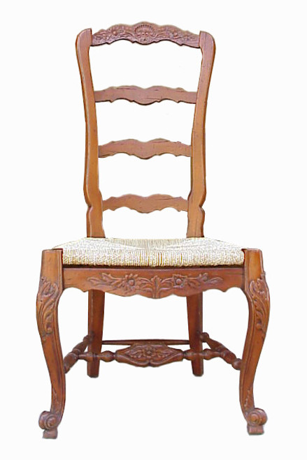 Custom Decorator - Hardwood Hand Carved Reproduction - Rococo Style Ladder Back - 47.6 Inch Dining Side Chair - Rush Seat