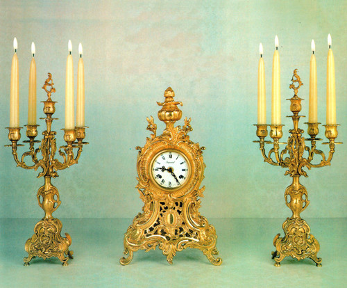 "Antique Style French Louis Garniture, Gilt Brass Ormolu, Mantel Clock And 19.29"" Five Light Candelabra Set, French Gold Patina, Handmade Reproduction of a 17th, 18th Century Dore Bronze Antique, 6719"