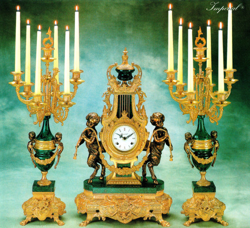 "Antique Style French Louis Garniture, Verde Delle Alpi, Green Italian Marble & Brass Ormolu Mantel Clock, 26.37"", Seven Light Candelabra Set, French Gold Gilt Patina, Handmade Reproduction of a 17th, 18th Century Dore Bronze Antique, 6717"