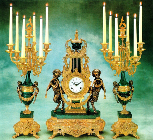 """Antique Style French Louis Garniture, Verde Delle Alpi, Green Italian Marble & Brass Ormolu Mantel, Table Clock, 26.37"""", Seven Light Candelabra Set, French Gold Gilt Patina, Handmade Reproduction of a 17th, 18th Century Dore Bronze Antique, 6717"""