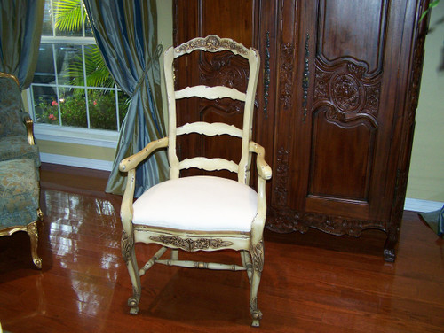 A Custom Decorator - Hardwood Hand Carved Reproduction - Rococo Style Ladder Back Fauteuil - 47.6 Inch Dining Arm Chair - Upholstered Seat