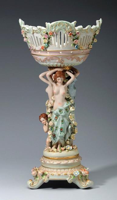 A Meissen Style Tabletop, 20.5t X 10w X 10d | Porcelain Pedestal Bowl | Vase | Compotier