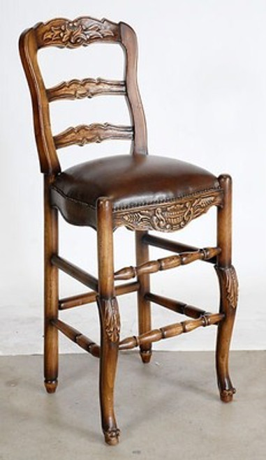 Carved Ladderback Mahogany & Leather Barstool