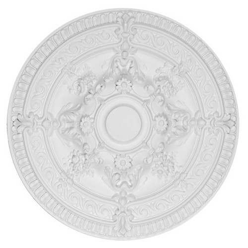 "Architectural Accents Rose Scroll, Round White Decorative Ceiling Medallion, 26"" Diameter X 2.5 thick"
