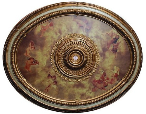 "Architectural Accents - Michelangelo's Sistine Chapel 79""L x 63""w x 3"" thick, 1282 Oval Decorative Ceiling Medallion"