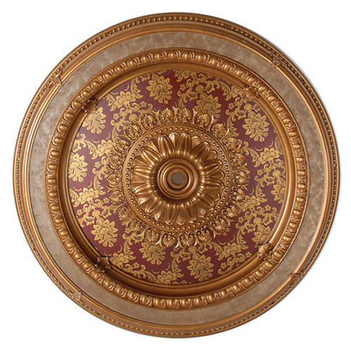 "Architectural Accents - Burgundy & Gilt Brocade 47"" Diameter x 3"" thick, 1274 Round Decorative Ceiling Medallion"