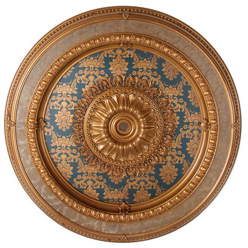 "Architectural Accents - Blue & Gilt Brocade 47"" Diameter x 3"" thick, 1273 Round Decorative Ceiling Medallion"