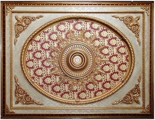 "Architectural Accents - Burgundy & Gilt Brocade 1270, Rectangular Decorative Ceiling Medallion - 94""L X 70.5""w X 3"" thick"