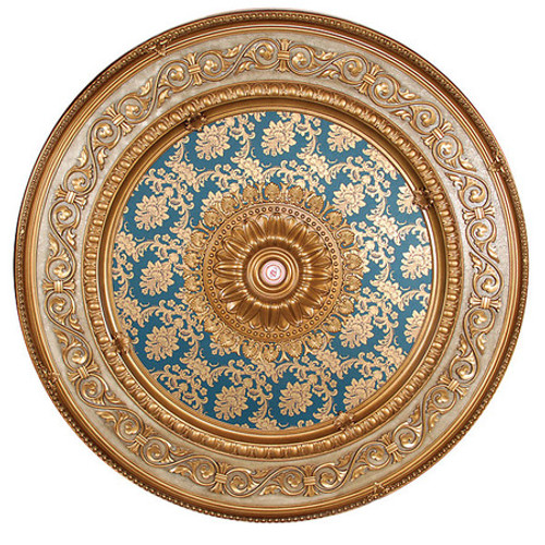 "Architectural Accents Scroll & Brocade - 1272, Round Gold & Blue Decorative Ceiling Medallion - 59"" Diameter X 3"" thick"