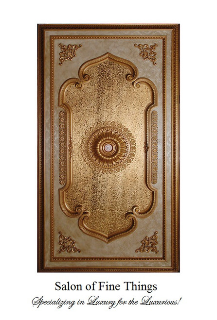 "Architectural Accents Gold Leaf, Rectangular Gilt Decorative Ceiling Medallion, 94""L X 51""w X 3"" Thick"