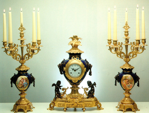 "Antique Style French Blu Cobalto Garniture, Cobalt Blue Porcelain & Brass Ormolu Mantel Clock, 23.62"", 6 Light Romance Portrait Candelabra Set, Handmade, French Gold Gilt Patina, Handmade Reproduction of a 17th, 18th Century Dore Bronze Antique, 6695"