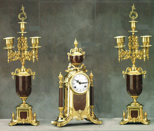 "Antique Style French Louis Garniture, Colle Mandina, Rose Red Italian Marble & Brass Ormolu Mantel Clock, 22.83"", Five Light Candelabra Set, French Gold Gilt Patina, Handmade Reproduction of a 17th, 18th Century Dore Bronze Antique, 6688"