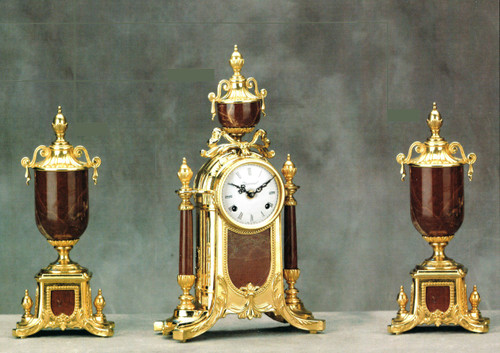 "Antique Style French Louis Garniture, Colle Mandina, Rose Red Italian Marble & Brass Ormolu Mantel Clock, 16.92"", Urn Set, French Gold Gilt Patina, Handmade Reproduction of a 17th, 18th Century Dore Bronze Antique, 6689"