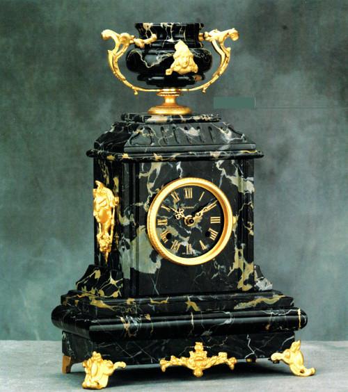"Nero Portoro, Black Italian Marble & Brass Ormolu, 17.71"" Mantel Clock, Antique 24 Karat Gold Gilt Patina - Handmade Reproduction of a 17th, 18th Century Dore Bronze Antique, 6687"