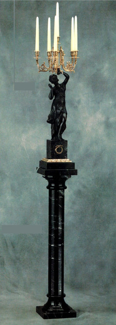 Nero Marquinia, Black Italian Marble & Brass Ormolu Candelabrum and Column, 75.91 Inch Set, French Old Gold Gilt Patina - Handmade Reproduction of a 17th, 18th Century Dore Bronze Antique, 6683