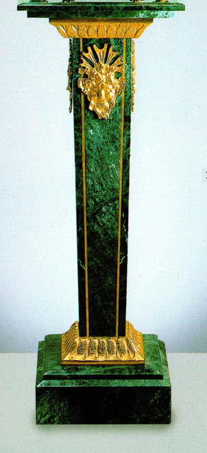 "Verde Delle Alpi, Green Italian Marble & Brass 39.30"" Column, French Gold Gilt - Handmade Reproduction of a 17th, 18th Century Dore Bronze Antique, 6677"