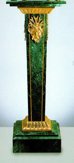 "Verde Delle Alpi, Green Italian Marble & Brass 39.30"" Column, French Gold Gilt - Handmade Reproduction of a 17th, 18th Century Dore Bronze Antique, 6677"
